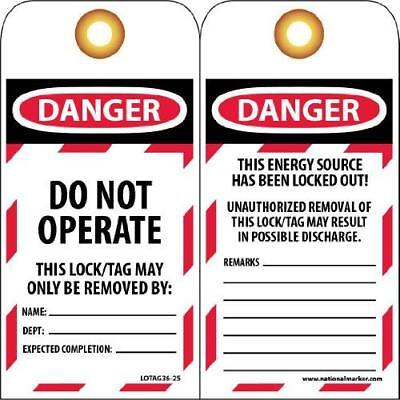 "NMC LOTAG36-25 Lockout Tag, ""DANGER - DO NOT OPERATE,"" 6"" Height x 3"" Width,"