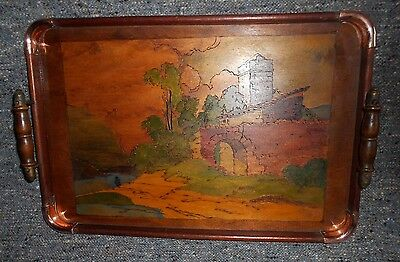 Vintage Wooden Tray with Poker Work and Painted Decoration