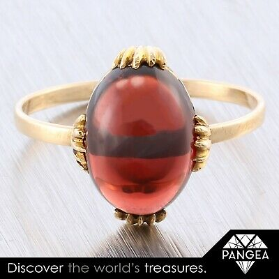1950s Vintage 14k Solid Yellow Gold Cabochon Oval Garnet Conversion Ring