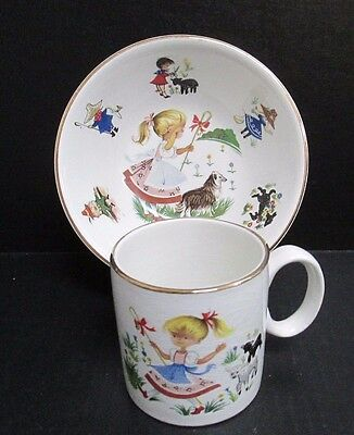 Vintage Arklow Child's Cup and Bowl Set Multi Colored Gold Trim Very Pretty Set