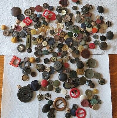 LARGE LOT Of VINTAGE ANTIQUE MIX 1800's BUTTONS & BUCKLES 2LBS