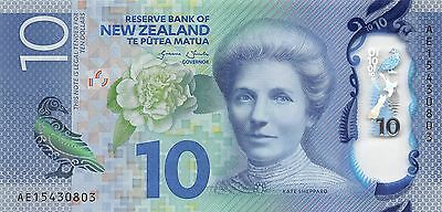 New Zealand  $10  2015  P 192 Series AE  Uncirculated  Banknote , SP 7
