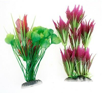 Sourcingmap Plastic Aquarium Decoration Water Plants, 2 Pieces, Fuchsia/ Green