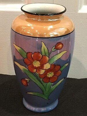 Vintage Hand painted Lusterware Takito Vase with Double TT pottery mark, Japan