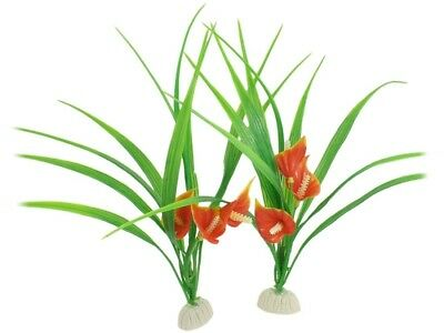 Sourcingmap Plastic Aquarium Plants/Grass, 9.8-inch, Pack Of 2, Orange/ Green