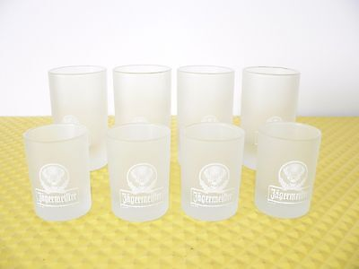 Set of 8 Jagermeister 4 CL & 2 CL Frosted Shot Glasses 4 of Each Mint Condition