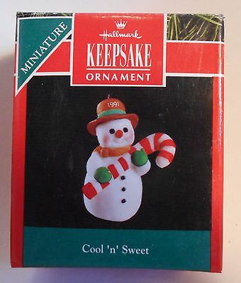 "1991 Hallmark Miniature Ornament ""Cool 'n' Sweet"" Porcelain Snowman MIB"