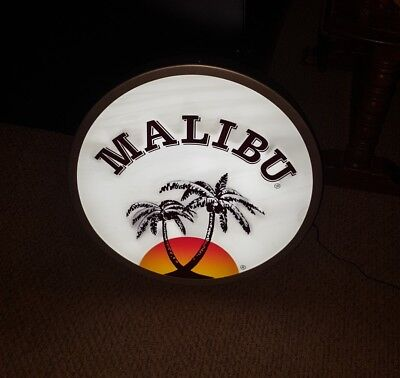 "Malibu Rum Lighted color changing 21"" Bar Sign"