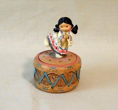 "Friends of the Feather ""Harmony"" Dancing Girl Playing Flute on Drum Enesco 1995"