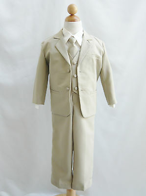 Baby Toddler Teen boy khaki/taupe/ivory formal suit graduation wedding party