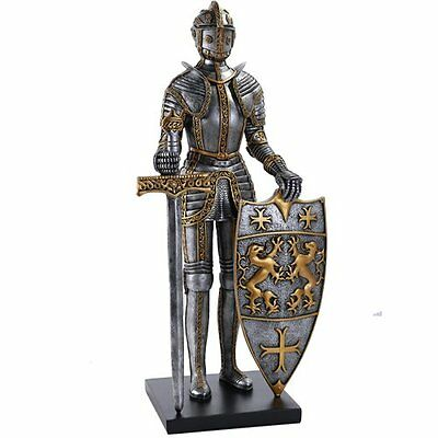 Medieval Times King's Royal Guardian Knight in Shining Armor Sword Shield Statue