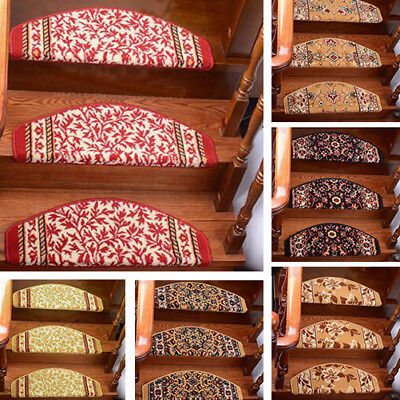 Stair Mat Pastoral Style Self-adhesive Stair Treads Carpet Home Step Rug Pad 1PC