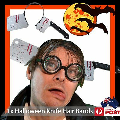 Halloween Scary Prop Fake Machete Knife Wound Hair Head Band Devil Party Accesso