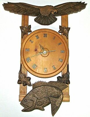"Hand Carved Eagle & Fish Wall Clock - 20"" tall"