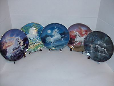 Set Of 5 Franklin Mint/Bradford Exchange Diamond Unicorn Collector Plates /Stand
