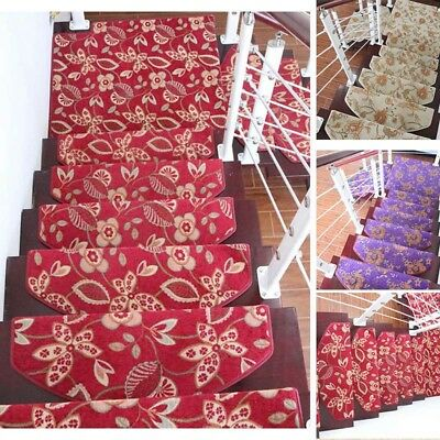 Stair Mat Ethnic Stair Treads Soft Carpet Home Anti-Slip Step Rug 1PC Foot Pad