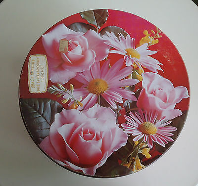 Pretty Vintage Mac's Biscuits Australia Large Biscuit Tin *Medallion ROSES *1982