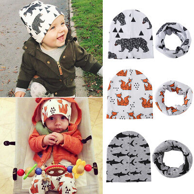 Cute Baby Hat Toddler Kids Boy Girls Cotton Warm Cap  + Scarf Warp Set Fox Bear
