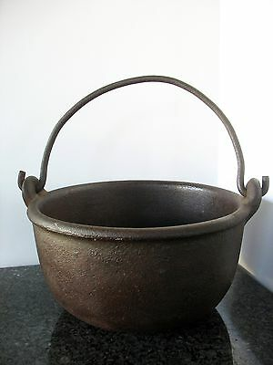 Antique Cast Iron Kettle Pot #7 Forged Handle Rustic Heavy Rimmed Fire Cowboy
