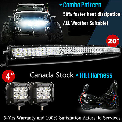"20 inch Curved LED Light Bar + 2x 4"" CREE LED Pods Jeep Truck Offroad SUV ATV 24"