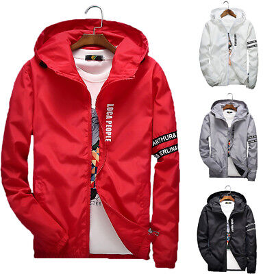 New Men's Hooded Casual Windbreaker Letter Thin Zipper Jacket Sports Coat