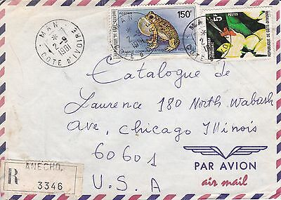 BD798) Ivory Coast 1981 nice registered airmail cover to USA