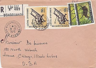BD808) Ivory Coast 1979 nice registered cover to USA