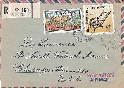 BD809) Ivory Coast 1979 nice registered airmail cover to USA