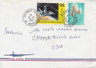 BD820) Ivory Coast 1981 nice airmail cover to USA