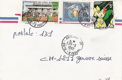BD821) Ivory Coast 1982 nice airmail cover to USA