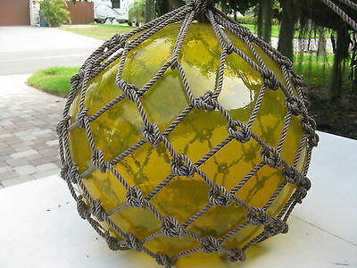 Japanese Glass Fish Net Floats - light Clear Yellow - HUGE