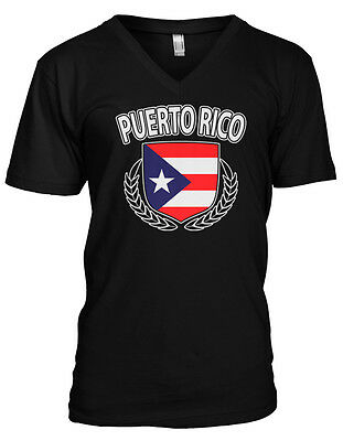 Puerto Rico Shield Rican Crest Coat Of Arms Country Born PR Men's V-Neck T-Shirt