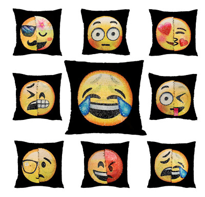 Emoji Expression Reversible Sequins Mermaid Pillow Case Cushion Home Sofa Decor
