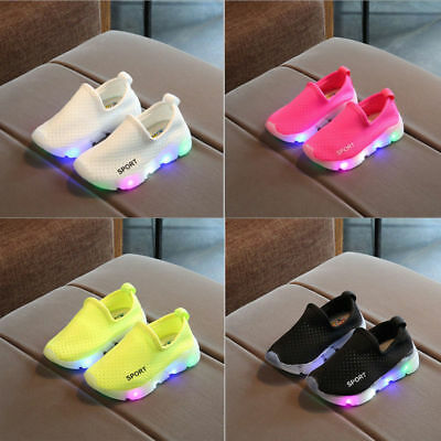 LED Light Up Kids Boys Girls Sports Trainers Luminous Breathable Sneakers Shoes