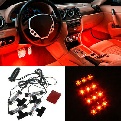 Orange 4x 3 LED Car Charge 4 in 1 Atmosphere Neon Light Lamp Glow Interior 12V