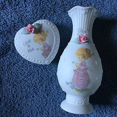 Lot Of 2 Precious Moments Love Is Kind Vase And Covered Box 1993 *MINT IN BOX* • $3.99