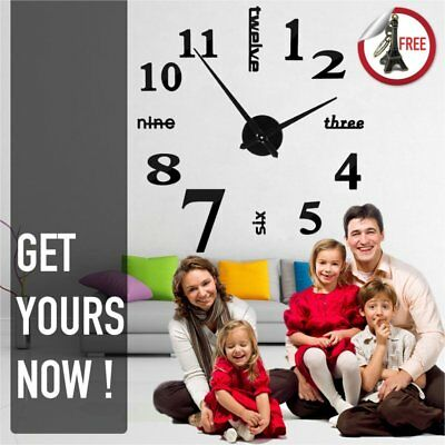 Modern 3D Frameless Large Wall Clock Style Watches Hours DIY Room Home Dec UK SY