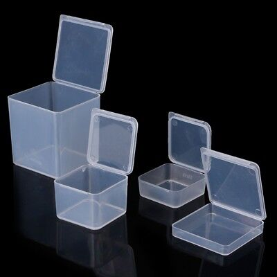 Small Square Clear Plastic Jewelry Storage Boxes Beads Crafts Case Containers