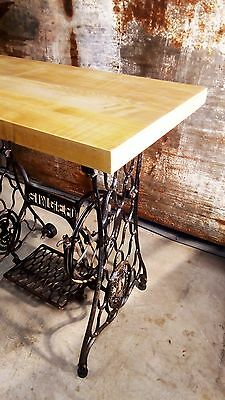 Singer Sewing Machine Base Maple Butcher Block Table Industrial Steampunk