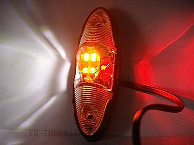 2 x LED BEGRENZUNGSLEUCHTE  - ROT + WEIß + GELB - 120 x 40mm / UNIVERSELL 12/24V