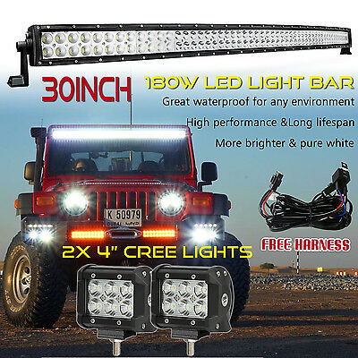 "30inch Offroad LED Light Bar Curved + 2x 4"" CREE Led Pods Truck Ford Jeep 4WD 32"