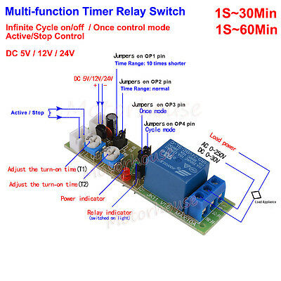 DC5V 12V 24V Timer Relay Switch Module Infinite Cycle Loop Delay Turn ON OFF New