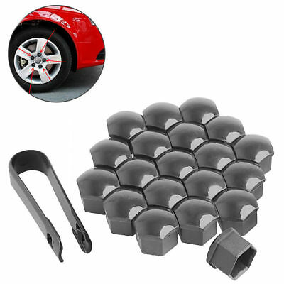 20 x 17mm Car Wheels Gray Plastic Nuts with Screw Cap Removal Tools For VW AUDI