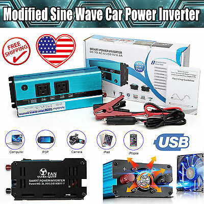 1500W(Peak 3000W) Digital Display Power Inverter Converter DC 12V To AC 110-120V