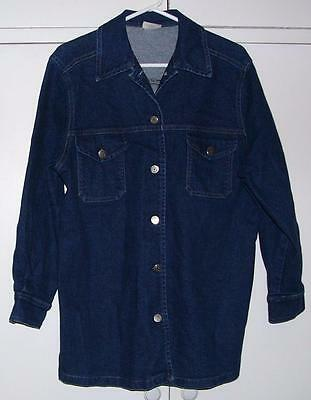 Drk BLUE Stretch DENIM Cowboy Western l/sleeve Button up SHIRT sz M Mint Cond