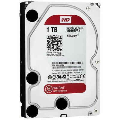 "Western Digital 1TB 3.5"""" HDD SATA III 64MB NAS Red Hard Drive Home Storage"
