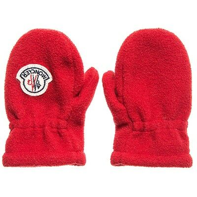 Moncler Baby Red Fleece Mittens 3-9 Months