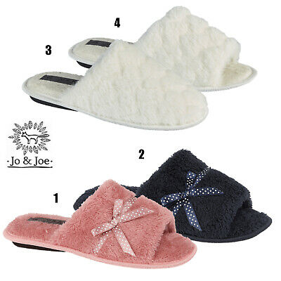 Ladies Moccasin Fur lined Slippers Womens Fleece Slip On Loafer Bow Shoe Sizes