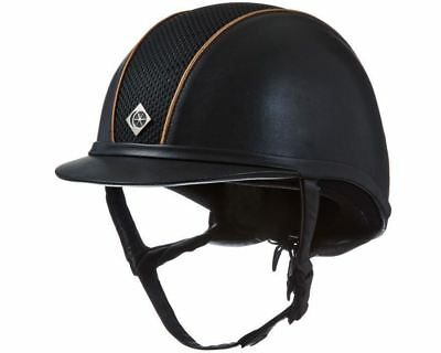 Charles Owen AYR8 Leather/Suede Look With Piping Horse Riding Competition Helmet