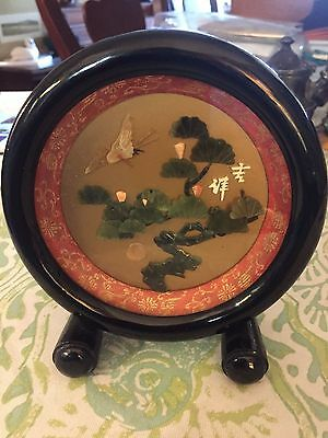 Vintage Chinese Carved Jade and Coral Bird &Floral Black Laquered Frame Free Sta